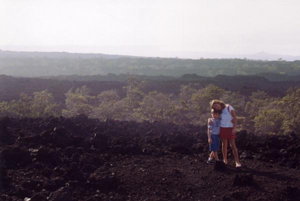 Kids on an old lava field
