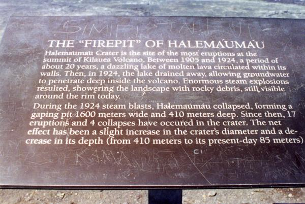 Description of Halemaumau Crater