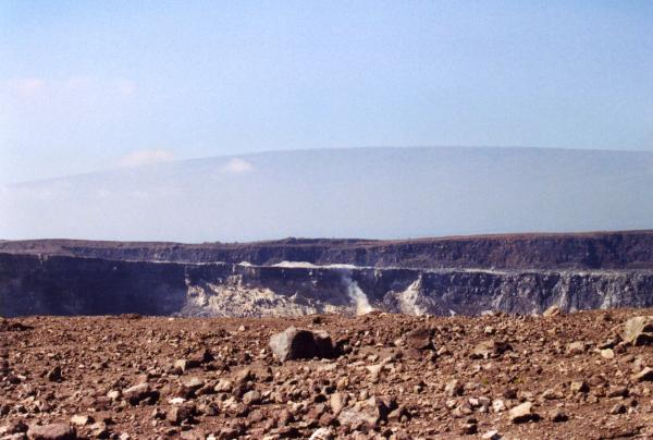 Looking across Halemaumau Crater to Mauna Loa