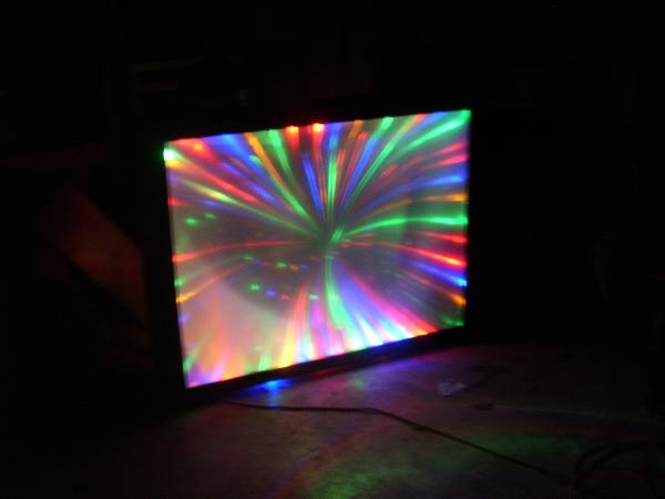 """what you get when you combine a dead 65"""" projection tv with a few hundred lights shame you cant see em twist an dance."""