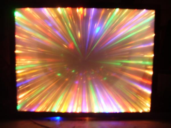 """.what you get when you combine a dead 65"""" projection tv with a few hundred lights shame you cant see em twist an dance."""