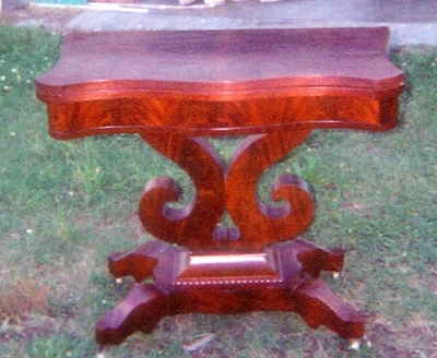 Old Gaming Table (top swivels and folds) Was smashed in moving and nearly destroyed by water, rebuilt and replaced 80% of Crotch Mahogany Veneer - closed view