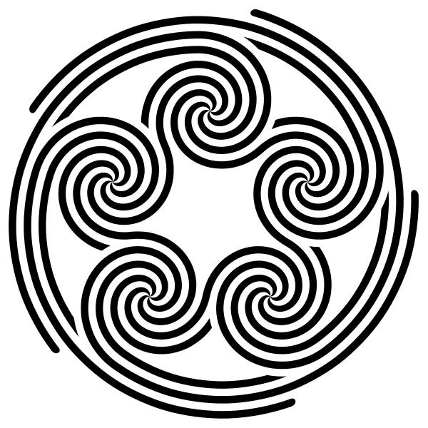 600px Five fivefold spirals quintuple pentaskelion Svg