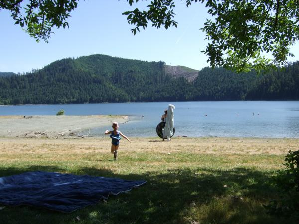 My son and mother-in-law at Galesville Reservoir. Notice the effects of logging on the mountains.