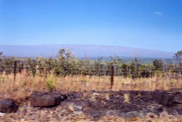 View of distant Mauna Loa as we approach the park