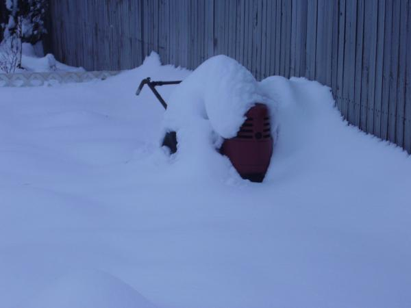 """My poor DB buried in 2' of snow (for scale it's tires are 32"""" tall)"""