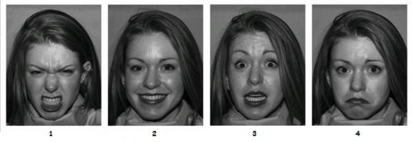 Photos of happy, sad, angry, and afraid face for AS/autism testing (fair use of image from http://apa.org)